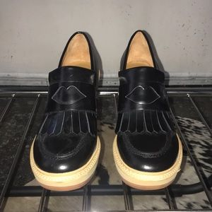 See by Chloé black leather wedge slip ons 59110